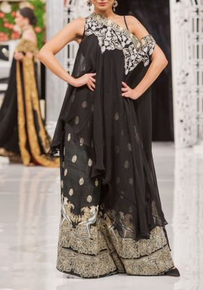 2 Piece Silver and Black Gharara Set  by Dareaab