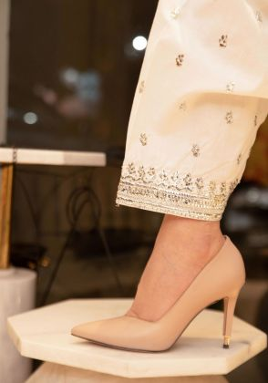 White Mukaish Shalwar by Sophia