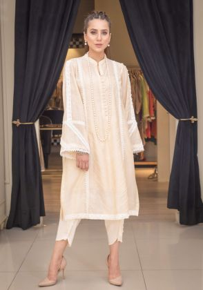 CHANDERI SILK KURTA by Sophia