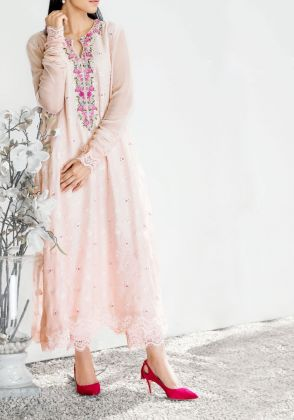 Sparkle Rose Cotton Net Shirt by Farida Hasan