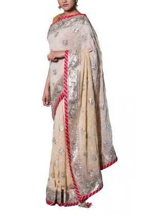 Off white embroidered Saree by Suchita's Stylista
