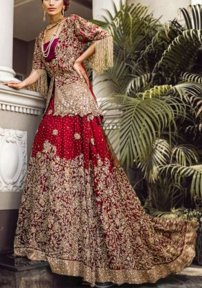 Three Piece Red Bridal Lehnga Choli by Hajra Hayat