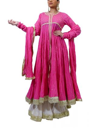 Hot pink  Muslin Peshwaz  by The Pinktree Company