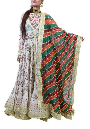 Green, Orange and Maroon Leherya Dupatta by The Pinktree Company
