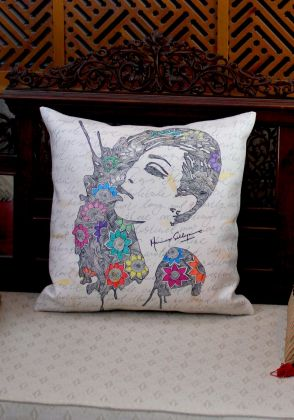 Vanity 2 Cushion Cover – Canvas  by Mina Siddique