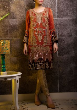 Velvet Straight Shirt by Zohaib Qadeer