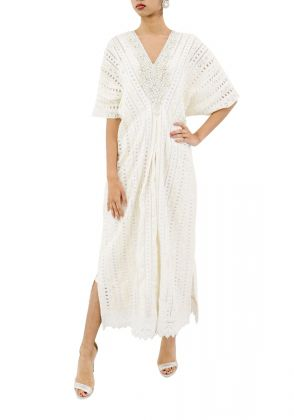 White Chicken Lace Kaftan by MESH by Ayesha Ghani