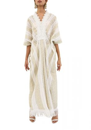 White Eggshell Chicken Lace Kaftan by MESH by Ayesha Ghani