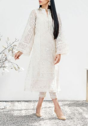 White Kurta in Cotton Net  by Farida Hasan
