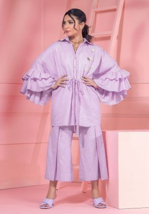 Lilac Cotton Frill Sleeves Shirt With Embellishment by Wardha Saleem
