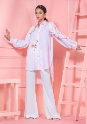 Baby Pink High Low Button Down Shirt With Frill Sleeves  by Wardha Saleem