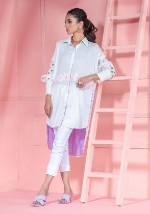 White High Low Button Down Shirt With Smocking Sleeves And Cutwork Details by Wardha Saleem