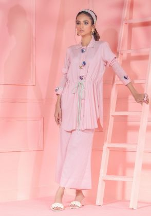 Blush Pink Draw String Shirt With Smocking Sleeves And 3d Floral Embellishment by Wardha Saleem