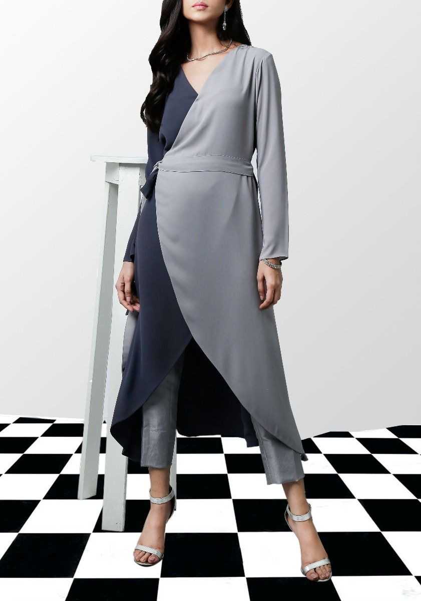 Abby - Grey Two Tone cross-over wrap top