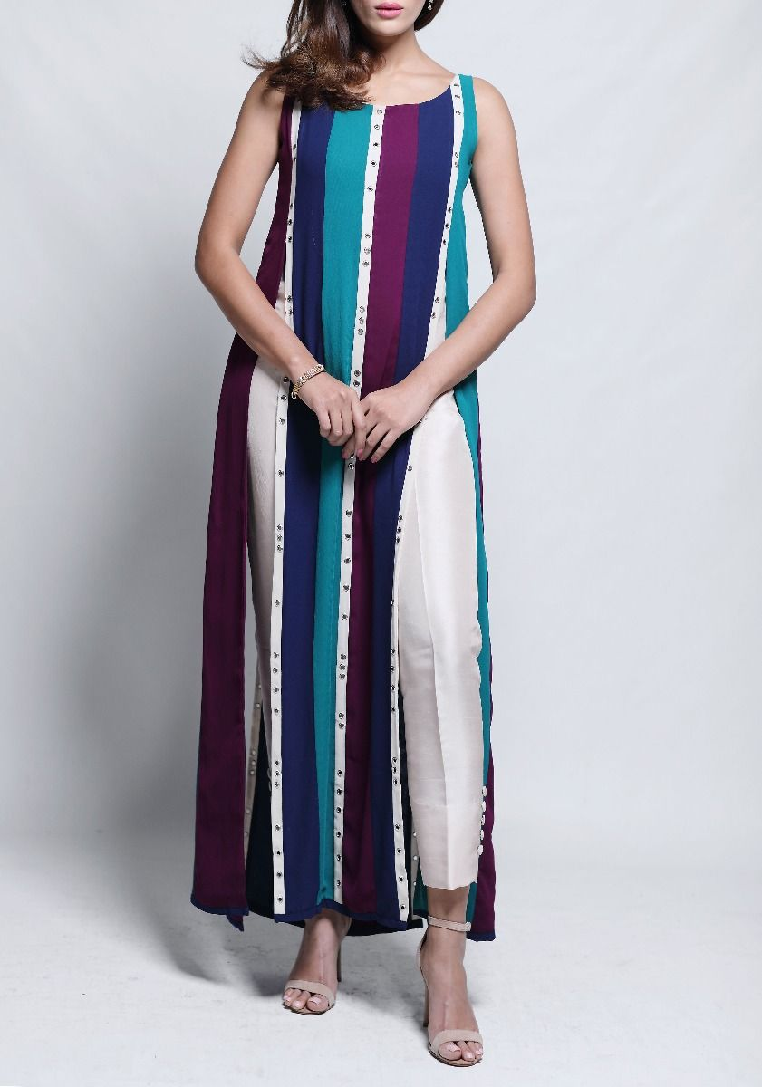 Amara - Colour Block Striped Midi Tunic
