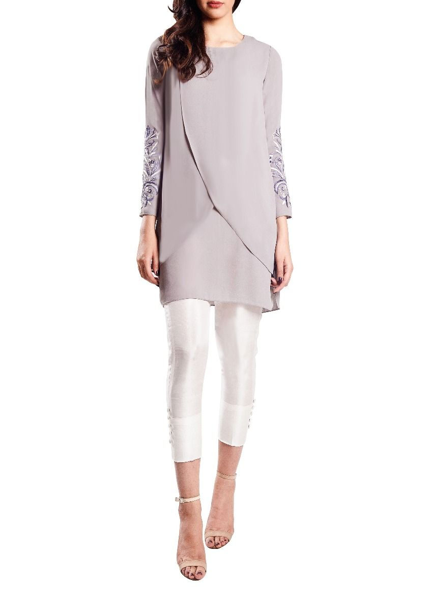 Bello - Embroidered Sleeves Grey Cross Over Tunic