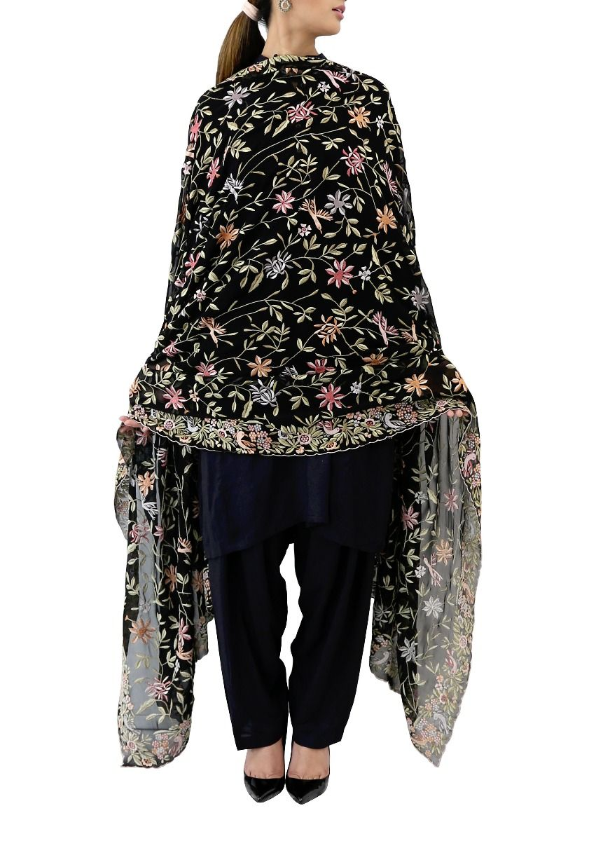 Black Multi Gara Dupatta