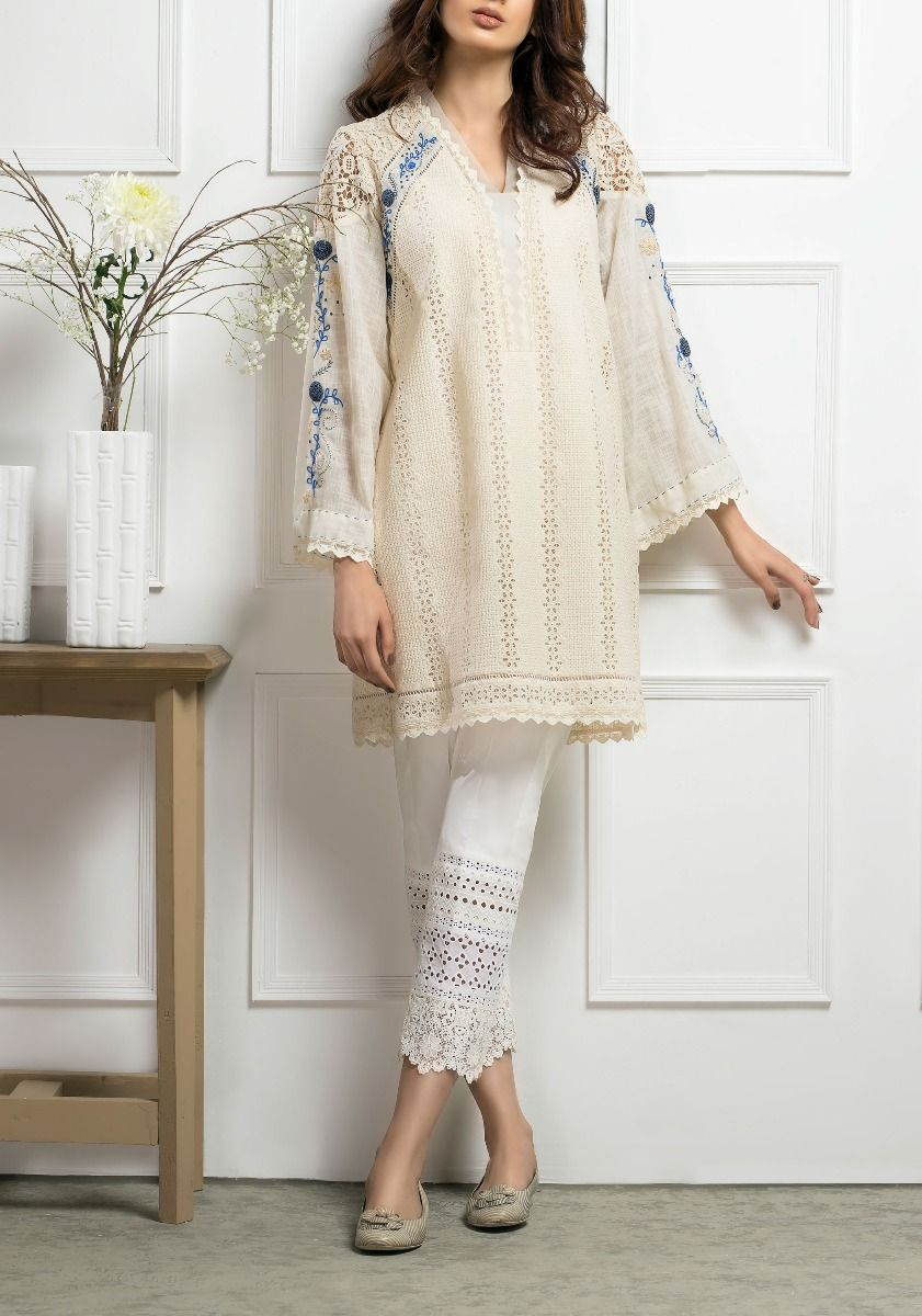 Blue on Cream Shirt - Hand Embroidered Chikkan shirt