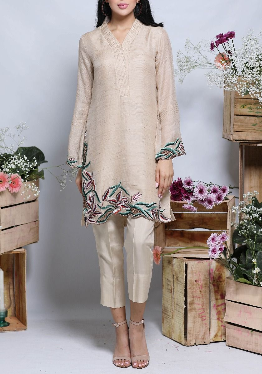 Lilium - Two Piece Canvas Tunic with Floral Embroidery