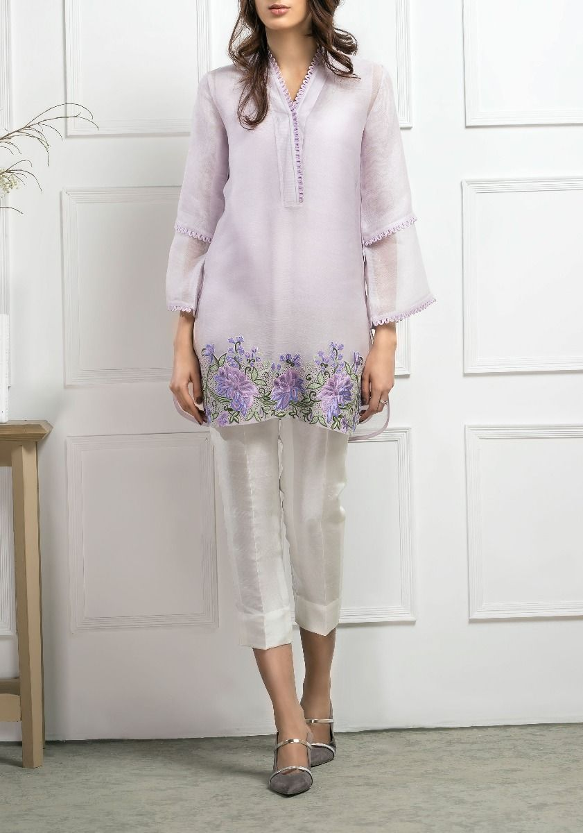 Chinese Rose Cotton Net Embellished Shirt