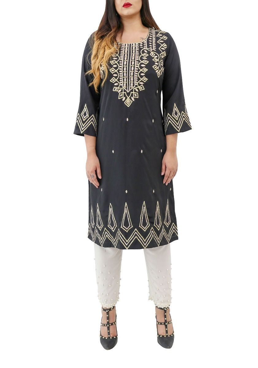 Cleo - Bell Sleeves Kurta with Gota Embroidery