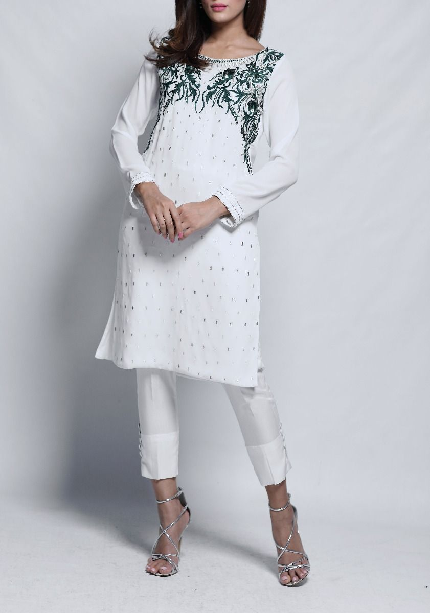 Elsa - 2 Piece with White Teal and Gold Embroidered Tunic