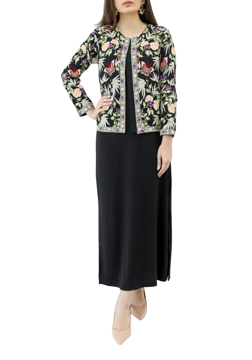 Black Georgette Jacket with Butterfly Embroidery