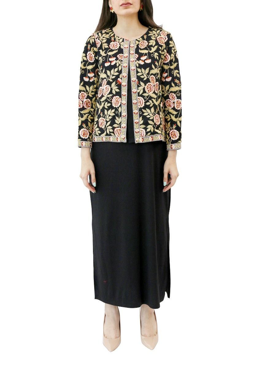 Black Georgette Jacket with Floral Embroidery