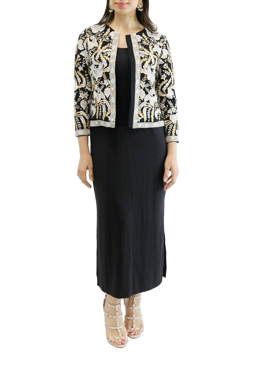 Black Georgette Designed Jacket with Embroidery
