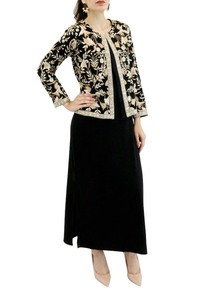 Black Georgette  Jacket with Beige Embroidery