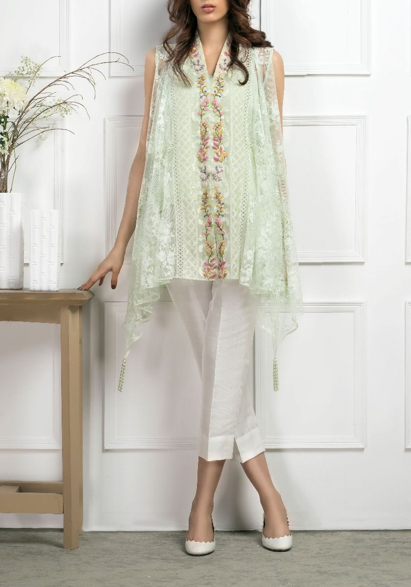 Floral Bail on Flair-2 Piece Cotton Net Shirt