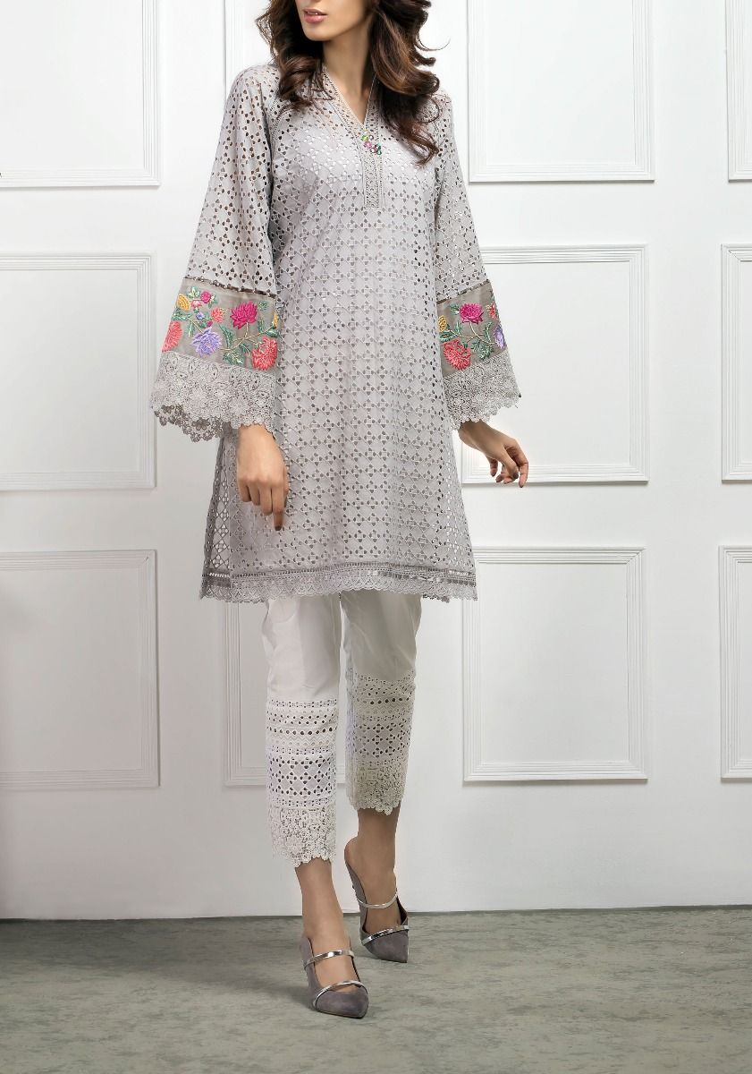 Floret Chikkan Kurta with Embroidered Sleeves