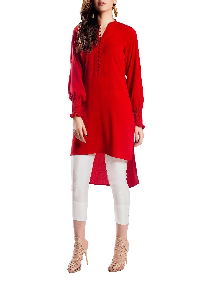 Fumo - Red Hand Stitched Tunic with Smoking Sleeves