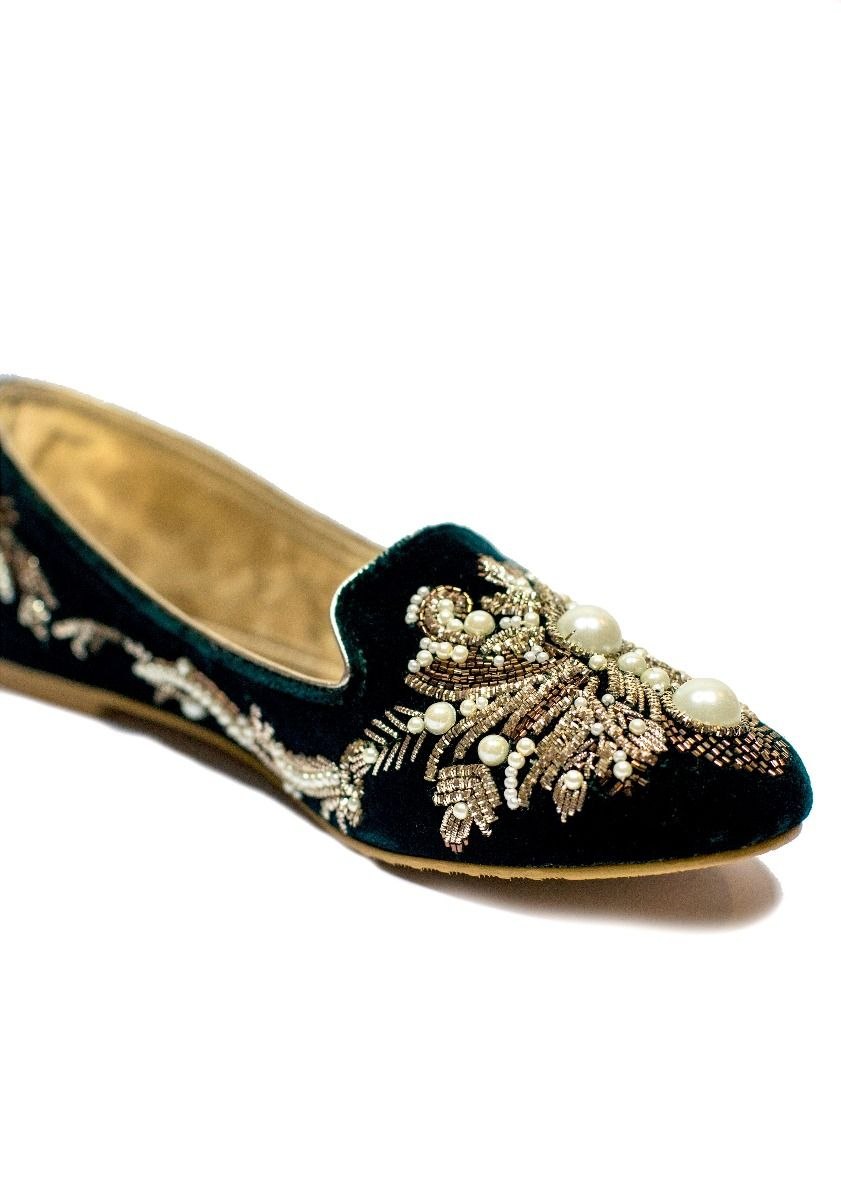 Hand Embroidered Loafer Green