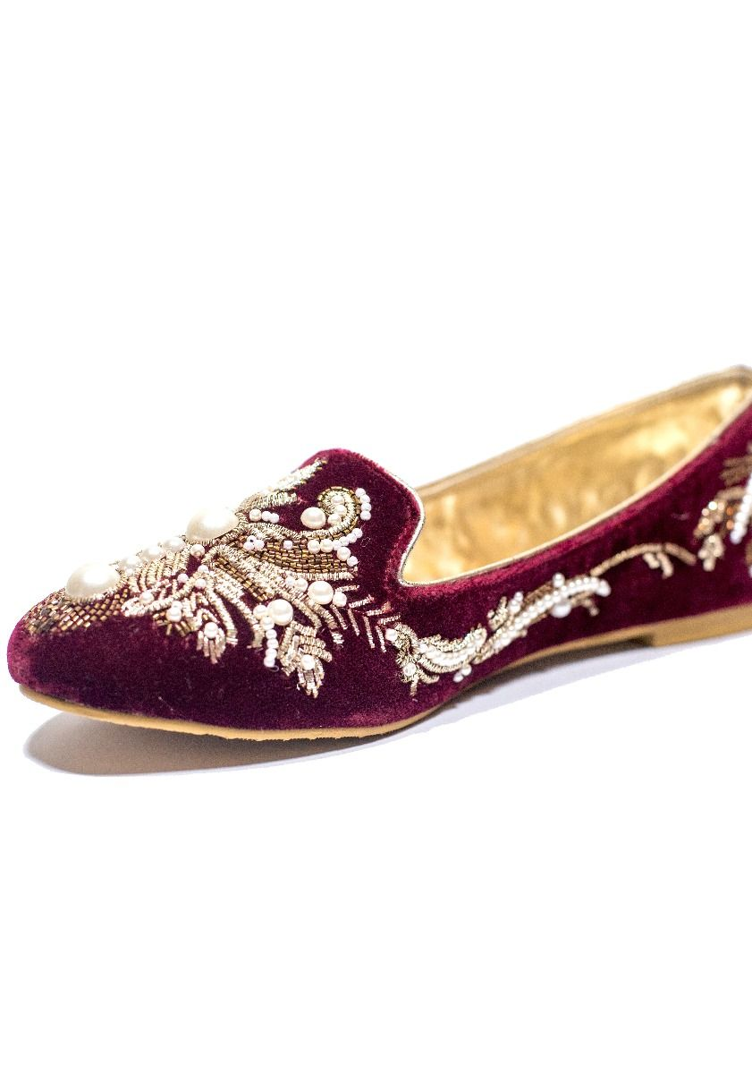 Hand Embroidered Loafer Maroon