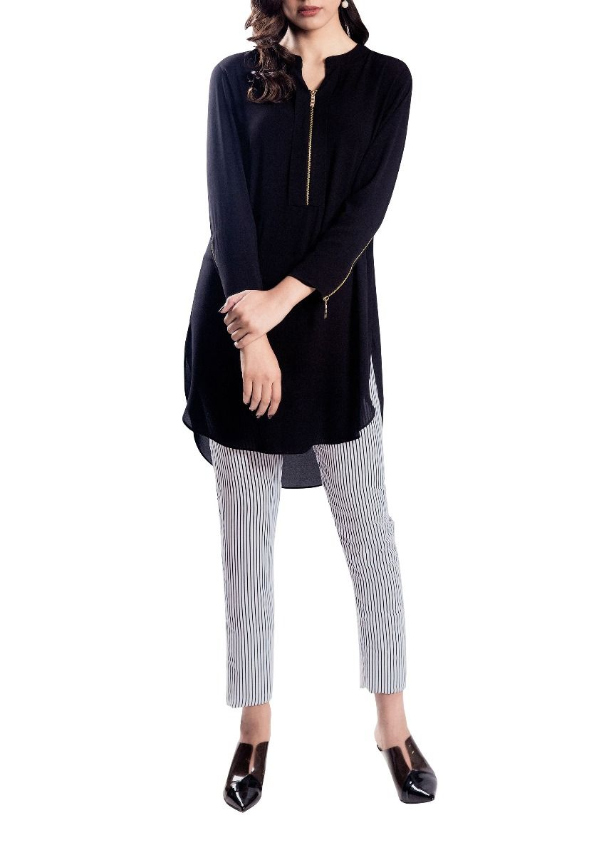 Hinge - Black Hand Stitched Colour Block Tunic