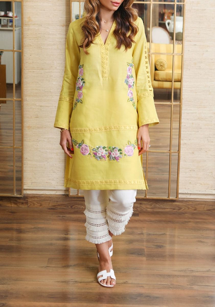 Lime Rose - Khadar Shirt with Embroidery