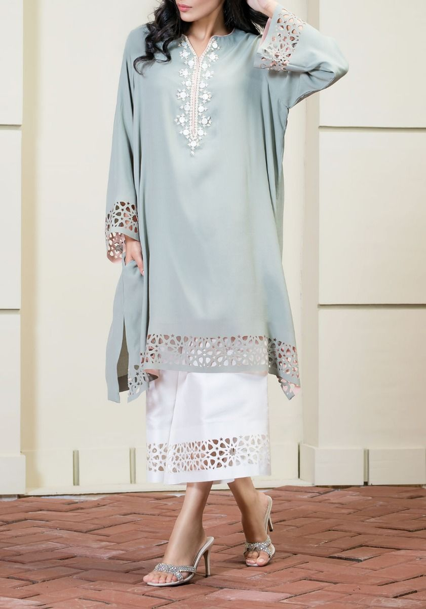 Moroccan Breeze - Grey Lazer-Cut Grip Shirt with Pearl Neckline