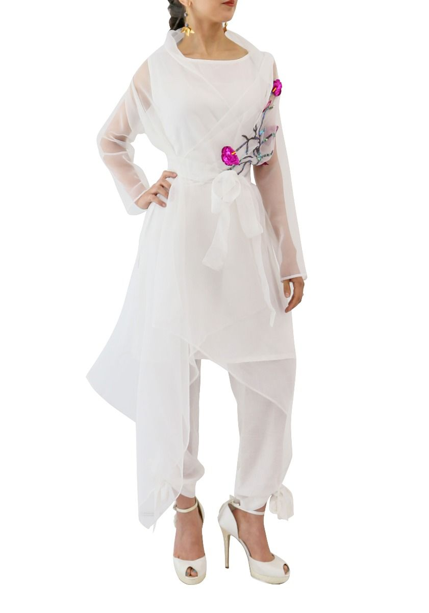 Organza Jacket Cape White
