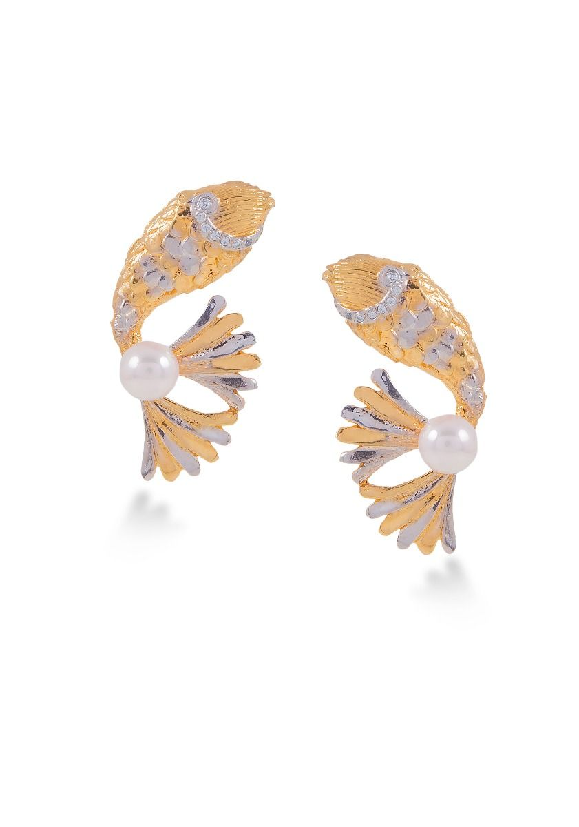 Pearl Golden Fish Studs