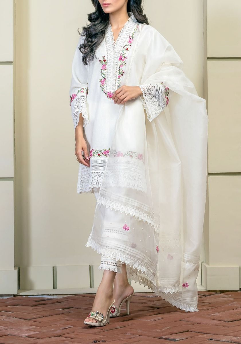 Rosets and Cream - Rose Embroidered Khaddar Shirt