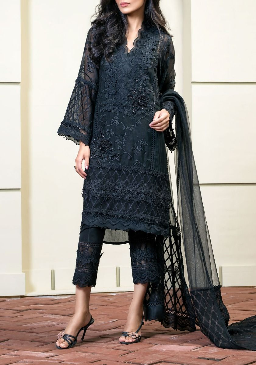 Scallop Lace Black - Embroidered Cotton Net Shirt
