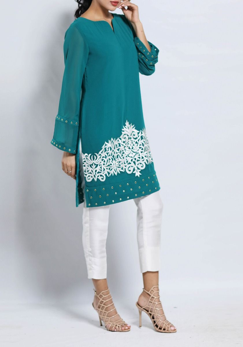 Erin - Sea Green Eyelet Embroidered Tunic