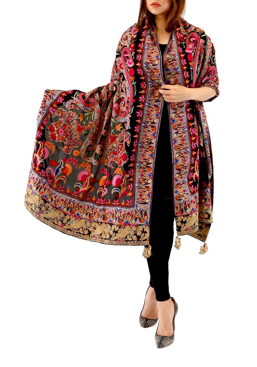 Embroidered Silk Dupatta