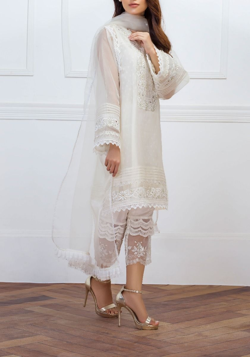 White lace- Pearl and Crystal Embellished, Lace High-Low Shirt